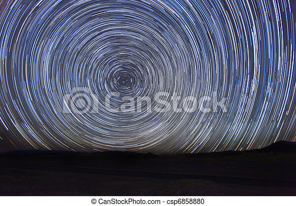 Time Lapse Image of the Night Stars - csp6858880
