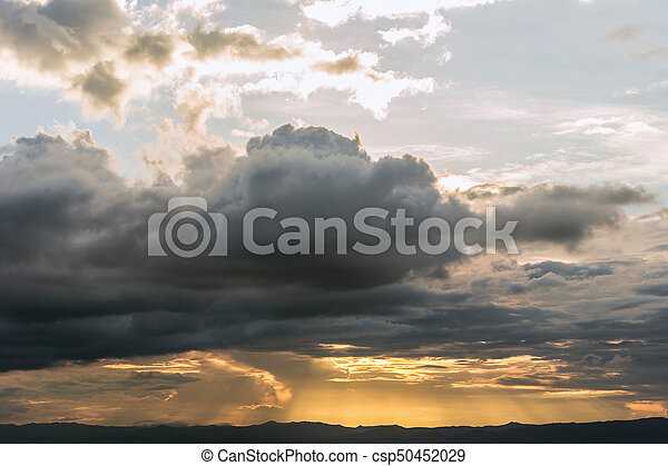 Time Lapse of Dramatic sky with stormy clouds before rain and thunderstorm - csp50452029