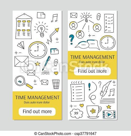 Time Management Banner Vector Vertical Banner Templates Time Management Doodle Hand Drawn Background For Posters Cards
