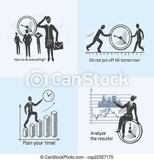 Time management composition sketch - csp22357175