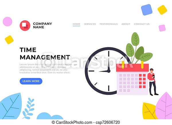 Time Management Flat Graphic Design Banner Poster Vector Concept Illustration