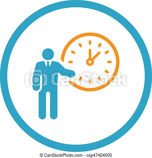 time management icon business concept flat design with vector rh canstockphoto com bad time management clipart
