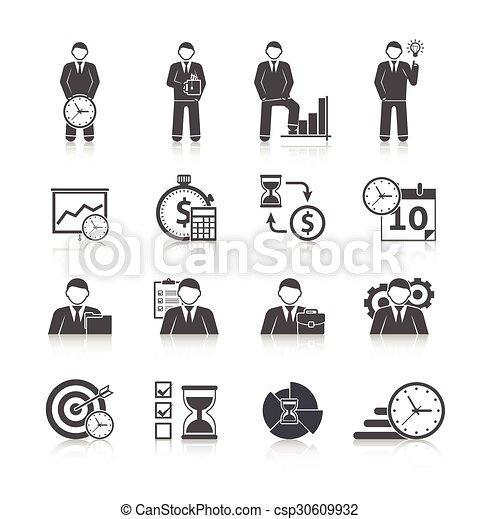 Time management icons set - csp30609932