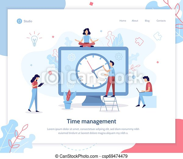 Time Management Web Banner People Are Working On A Schedule For The Project Time Management Landing Page Template Flat