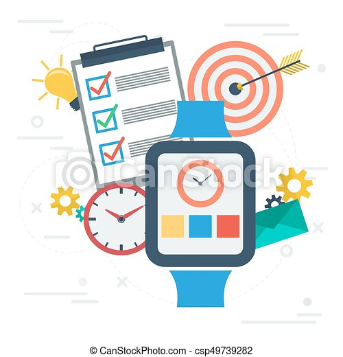 time management with smart watch vector square banner vector rh canstockphoto ca time management clipart illustrations Performance Management Clip Art