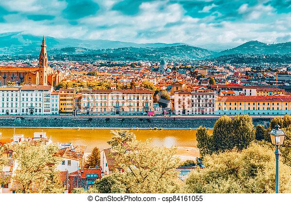 time., point., histórico, hermoso, vista, paisaje, mañana, panorama, piazzale, michelangelo, sobre, florencia - csp84161055