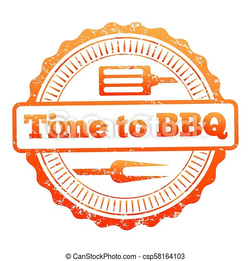 Time to BBQ colorful label design - csp58164103
