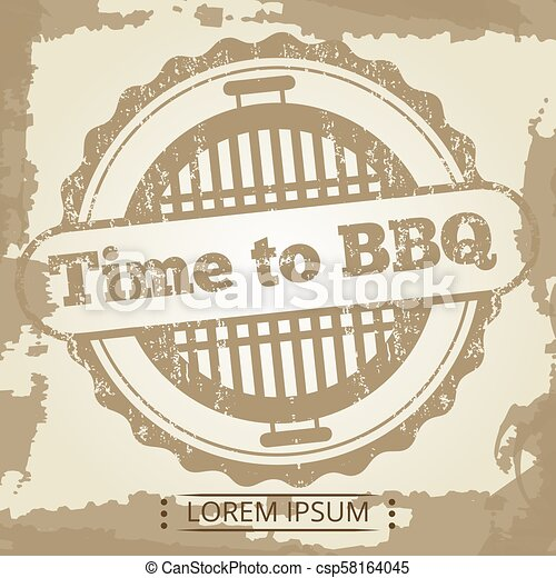 Time to BBQ grunge background with label - csp58164045