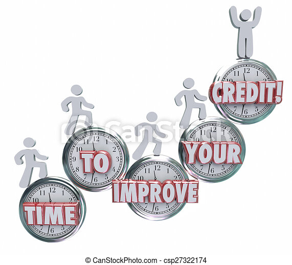Time to Improve Your Credit Borrowers Rising on Clocks Better Score Rating - csp27322174