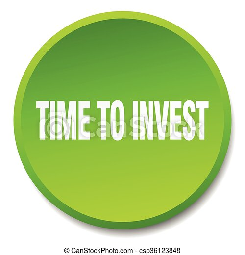 time to invest green round flat isolated push button - csp36123848
