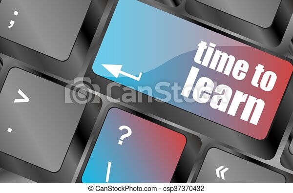 time to learn - close up view on conceptual keyboard vector, keyboard key, keyboard button, vector keyboard - csp37370432