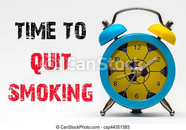 Time to Quit Smoking on a white background. Retro alarm clock - csp44351383