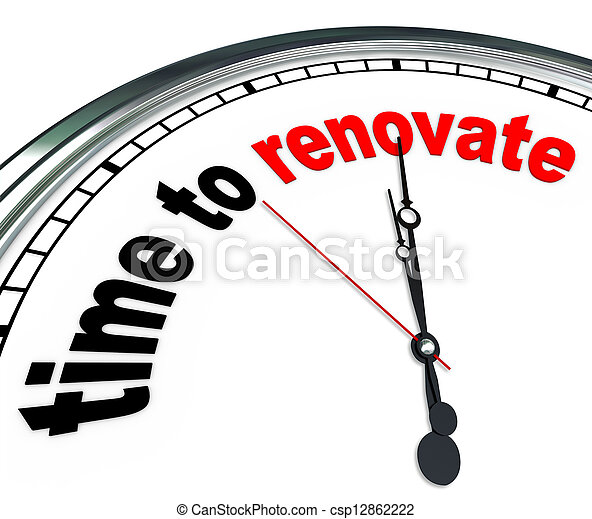 Time to Renovate Clock Countdown to Rebuilding Project - csp12862222
