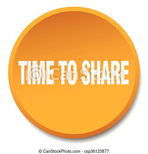 time to share orange round flat isolated push button - csp36123877
