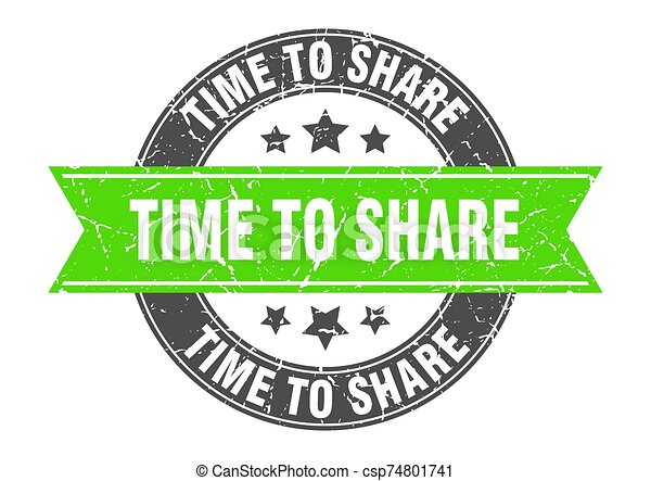 time to share round stamp with green ribbon. time to share - csp74801741