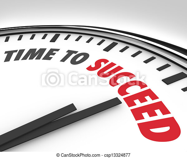 Time to Succeed Words on Clock Successful Goal - csp13324877