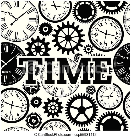 Time Watch Gears Cog Black And White Background Vector Image