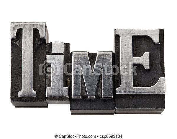 time word in metal type - csp8593184