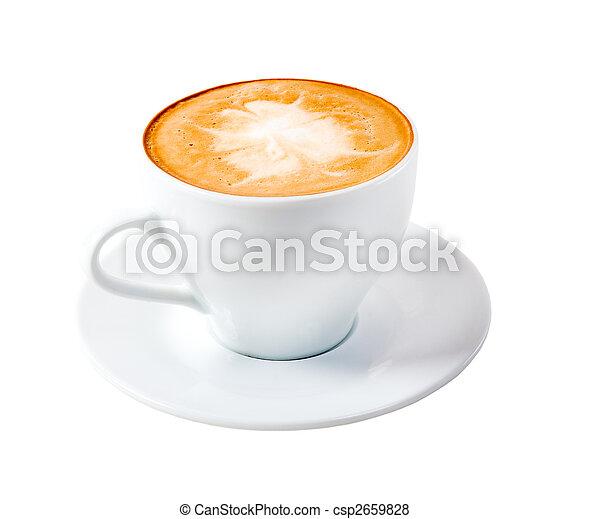 time.late, カプチーノ, コーヒー, 隔離された - csp2659828