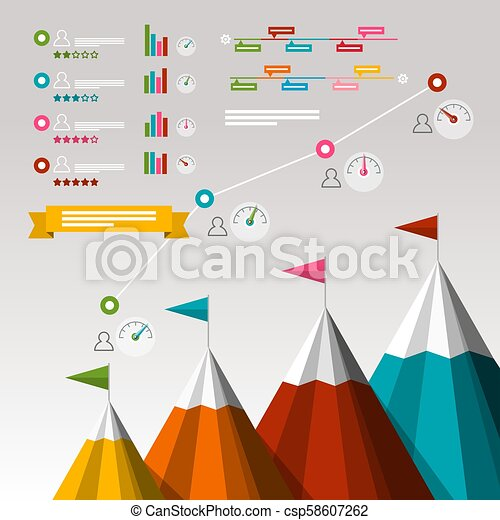 Timeline Business Infographics with Items. Mountains with Flags and Fuel Symbols. Success Concept. - csp58607262