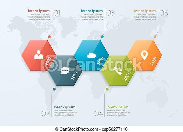 Timeline Chart Infographic Template With Options For Vector - Timeline graphic template