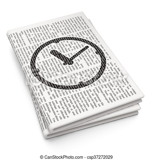 Timeline concept: Clock on Newspaper background - csp37272029