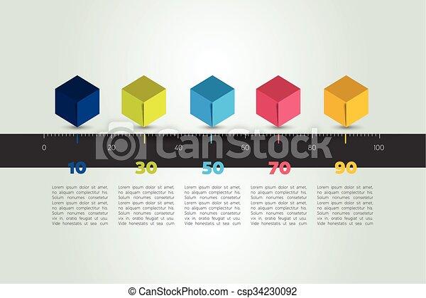Horizontal Line Art : Timeline cube template horizontal line vector infographic eps