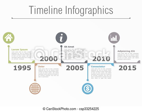 Timeline Horizontal Timeline Infographics Template Vector Eps - Free timeline infographic template