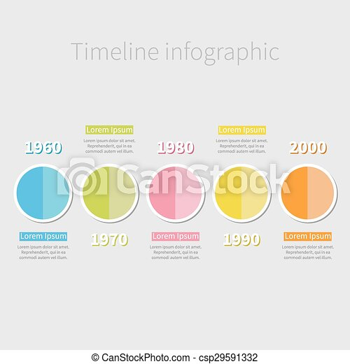 timeline infographic with colored round half circle and text shadow