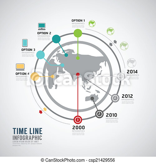 Timeline Infographic world vector design template. - csp21429556