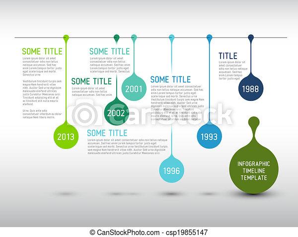 Colorida línea de tiempo Infográfico informe plantilla con gotas - csp19855147