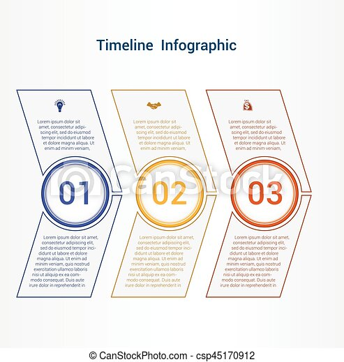 Timeline or area chart Template infographics 3 position. - csp45170912