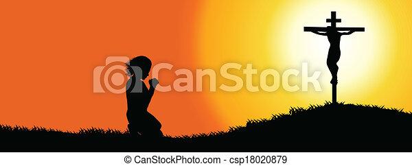 timeline, sylwetka, -, osłona, modlitwa - csp18020879