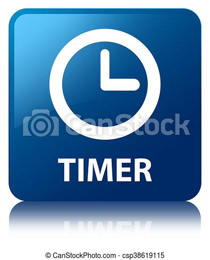 Timer blue square button - csp38619115