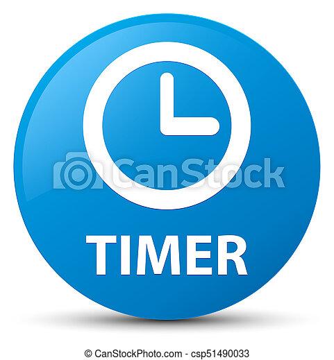 Timer cyan blue round button - csp51490033