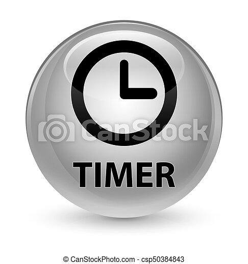 Timer glassy white round button - csp50384843