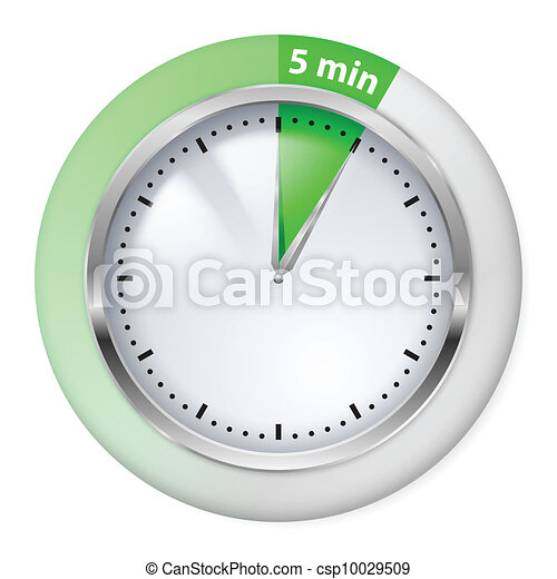 green timer icon five minutes illustration on white