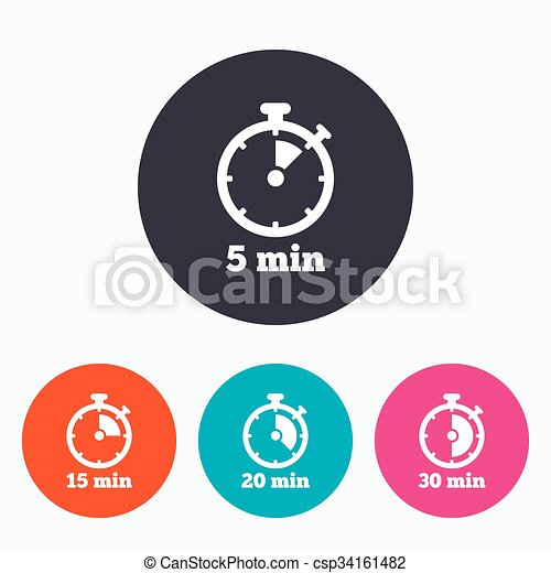 timer icons five minutes stopwatch symbol timer icons 5 15 20