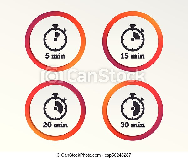 Timer icons  Five minutes stopwatch symbol
