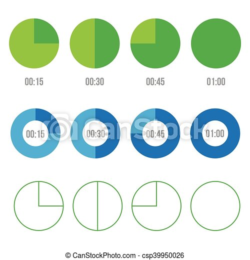 Timer icons vector circles - csp39950026
