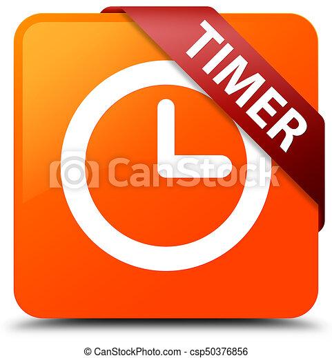 Timer orange square button red ribbon in corner - csp50376856
