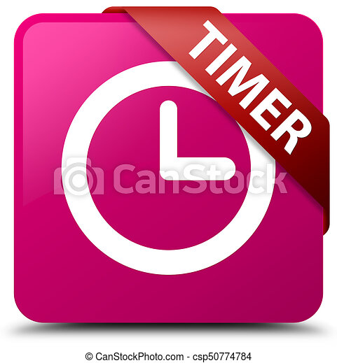 Timer pink square button red ribbon in corner - csp50774784