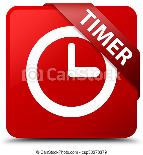 Timer red square button red ribbon in corner - csp50378379