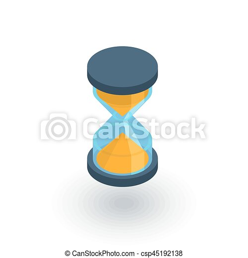 timer sand hourglass glass clock isometric flat icon 3d vector