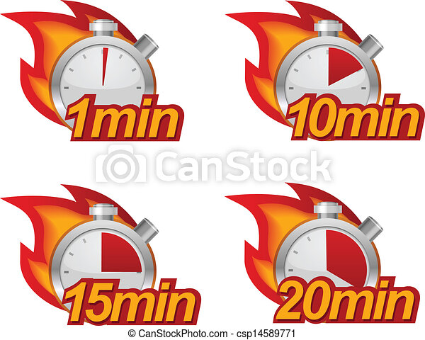 timer set 1 minute 10 minutes 15 and 20 minutes timers with fire