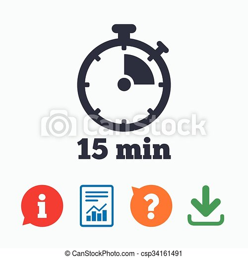 timer sign icon 15 minutes stopwatch symbol information think