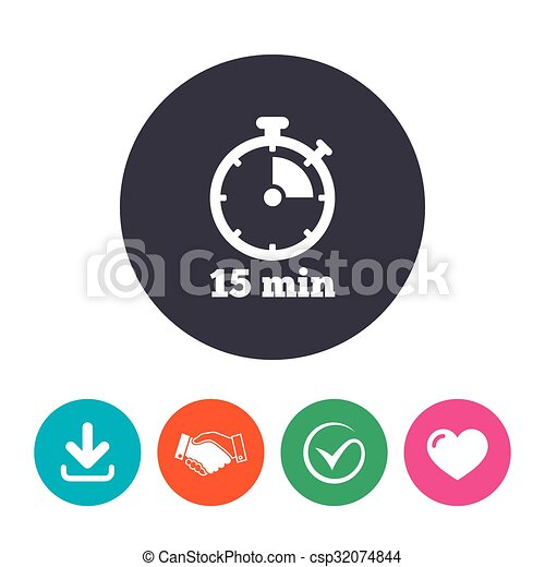 timer sign icon 15 minutes stopwatch symbol download arrow