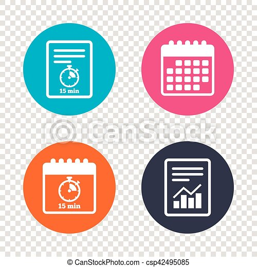 report document calendar icons timer sign icon 15 minutes