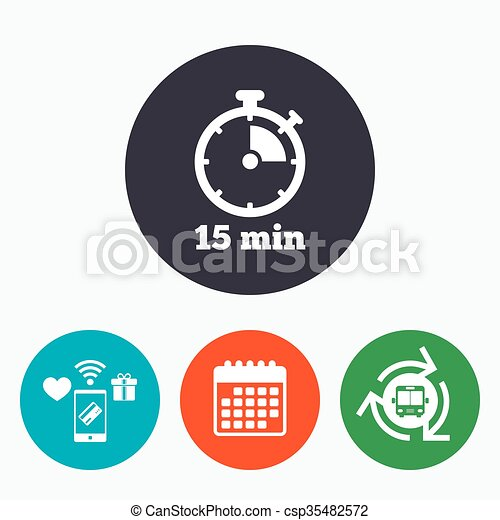 timer sign icon 15 minutes stopwatch symbol mobile payments