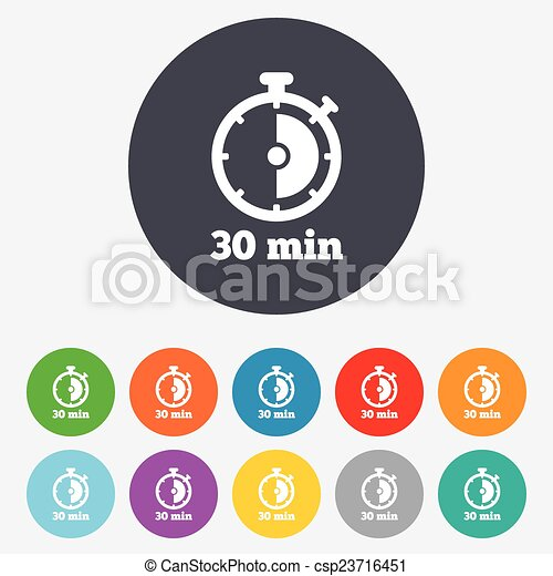 Timer sign icon. 30 minutes stopwatch symbol. - csp23716451